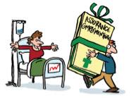 Illustration homme sur lit d'hôpital et autre homme tenant un livret avec ruban cadeau sur la complementaire santé