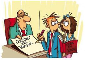 Illustration patron tenant un contrat de travail. Un salarié le stylo à la main pour le signer et une salariée tenant le Code du Travail dans ses mains
