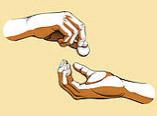 Illustration main tenant une pièce et une autre main tendue pour l'attraper
