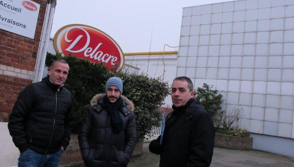 Le mari d'une ex-intérimaire, Jamal Sabaouni, et M e Dominique Bianchi, leur avocat devant l'entreprise Delacre