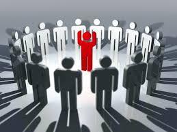 Illustration ronde hommes blanc et homme rouge au centre
